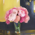 Pink Peonies Yellow Indigo by Beverly Brown