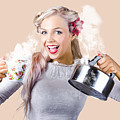 Pinup Girl Holding Kettle And Mug by Jorgo Photography - Wall Art Gallery