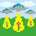 Pixel Vector Landscape With Ufo by Droidworker