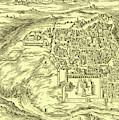 Plan Of Jerusalem Circa 1600 by Israeli School
