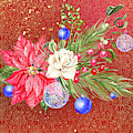 Poinsettia With Blue Ornaments  by Ruth Moratz