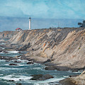 Point Arena Lighthouse California Textured by Joan Carroll