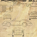 Porsche 911 Patent Drawing Vintage Art Print by David Millenheft