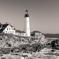 Portland Head Light Black And White by Dan Sproul
