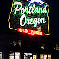 Portland Oregon White Stag Sign 1123 by Rospotte Photography