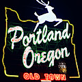 Portland White Stag Sign 1118 by Rospotte Photography