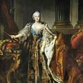 Portrait Of Empress Elizabeth, 1758 Oil On Canvas by Louis M Tocque