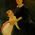 Portrait Of Shestova With Daughter by Ge Nikolai