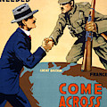 Poster Showing Two Men On A Globe Shaking Hands Across The Atlantic Ocean by English School