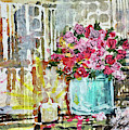 Potted Roses With Candle by Janis Lee Colon