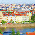 Prague On Vltava - Painterly by Les Palenik