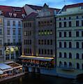 Prague Restaurants Near Charles Bridge At Night by Les Palenik