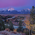 Pre-dawn Fall Color Dawn Snake River Overlook Grand Tetons by Dave Welling
