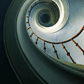 Pretty Spiral Staircase In Blue And Green Tones by Jaroslaw Blaminsky