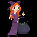 Pretty Witch With Cauldron by John Schwegel