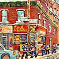 Psc Street Hockey Painting Canadian Winter Scene Rue Coleraine And Charlevoix C Spandau Corner Store by Carole Spandau