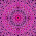 Psychedelic Kaleidoscope Purple Pattern 14 by Artist Dot