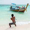 Pulling In The Boat In Krabi by Ian Robert Knight