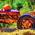Pumpkin On Old Tractor by Garry Gay