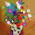 Punk Impressionist Flower Skull by Tony Rubino