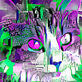 Purple Fluffy Cat Abstract by Don Northup