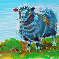 Quirky Blue Sheep Painting by Mike Jory