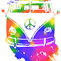 Rainbow Colored Peace Bus by David King