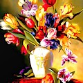 Rainbow Floral Array Soft And Wet Paint by Catherine Lott