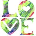 Rainbow Of Love Sign Watercolor Silhouette Letters Hearts  by Irina Sztukowski