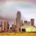 Rainbow Over Downtown Dallas - Dallas Skyline - Texas by Jason Politte