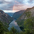 Rainbow Over The Naerofjord, Norway by Andreas Levi