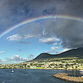 Rainbow Panorama Over Olivees Mountain On St. Kitts Island by Bill Swartwout Photography