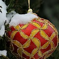 Red And Gold Ornament by The Art Of Marilyn Ridoutt-Greene