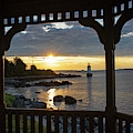 Red And Gold Sunrise Salem Ma Winter Island Fort Pickering Light From The Gazebo by Toby McGuire