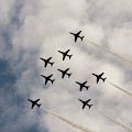 Red Arrows Lancaster Formation At Raf Cosford 2019 by Scott Lyons