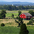 Red Barn And Countryside Near Gettysburg by James Brunker