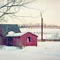 Red Barn In Snow - Farmhouse Art by Joann Vitali