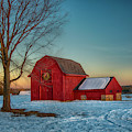 Red Barn Sunset In Winter by Joann Vitali