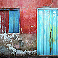 Red, Blue And Grey Wall, Door And Window by Lyl Dil Creations