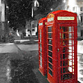 Red British Phone Box On The Streets Of Edinburgh by Mark E Tisdale