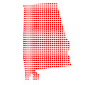 Red Dot Map Of Alabama by Bigalbaloo Stock