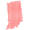Red Dot Map Of Indiana by Bigalbaloo Stock