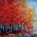 Red Fall Forest By Olena Art  by OLena Art - Lena Owens
