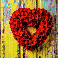 Red Floral Heart Wreath by Garry Gay