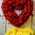 Red Heart Wreath And Yellow Roses by Garry Gay