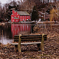 Red Mill Reflection Clinton New Jersey Square by Terry DeLuco