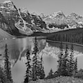 Red Morning Peaks At Moraine Lake Black And White by Adam Jewell