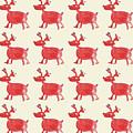 Red Reindeer Pattern by Maria Langgle