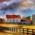 Red Roof Barn In Autumn by Lois Bryan