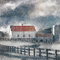 Red Roof Barn In Winter by Lois Bryan